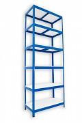 kovový regál Biedrax 35 x 90 x 210 cm - 6 polic lamino x 175 kg, modrý