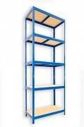 kovový regál Biedrax 35 x 75 x 240 cm - 5 polic x 175kg, modrý