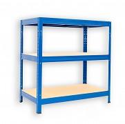 kovový regál Biedrax 35 x 75 x 90 cm - 3 police x 275kg, modrý