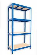 kovový regál Biedrax 35 x 75 x 180 cm - 4 police x 275kg, modrý