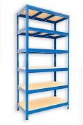 kovový regál Biedrax 35 x 75 x 180 cm - 6 polic x 275kg, modrý