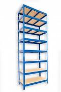 kovový regál Biedrax 35 x 75 x 210 cm - 8 polic x 275kg, modrý