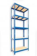 kovový regál Biedrax 50 x 90 x 240 cm - 5 polic x 275kg, modrý