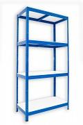 kovový regál Biedrax 35 x 75 x 180 cm - 4 police lamino x 175 kg, modrý