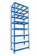 kovový regál Biedrax 35 x 75 x 210 cm - 8 polic lamino x 275 kg, modrý
