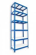 kovový regál Biedrax 35 x 75 x 240 cm - 6 polic lamino x 275 kg, modrý