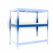 police k regálu kompletní - regál kovový, 35 x 75 cm - modrý, 275 kg na polici