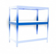 police 45 x 120 cm bílé lamino - regál kovový modrý, 175 kg na polici