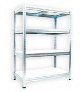 kovový regál Biedrax 35 x 75 x 90 cm - pozinkovaný, bílé police lamino