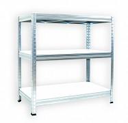 kovový regál Biedrax 60 x 120 x 90 cm - pozinkovaný, bílé police lamino