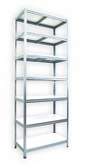 kovový regál Biedrax 45 x 90 x 240 cm - 7 polic x 175 kg, pozinkovaný, bílé police lamino