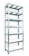 kovový regál Biedrax 45 x 120 x 240 cm - 7 polic x 175 kg, pozinkovaný, bílé police lamino