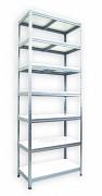 kovový regál Biedrax 35 x 90 x 270 cm - 7 polic x 175 kg, pozinkovaný, bílé police lamino