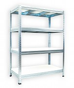 kovový regál Biedrax 35 x 90 x 90 cm - pozinkovaný, bílé police lamino