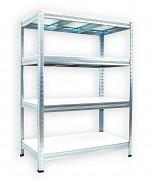 kovový regál Biedrax 50 x 90 x 90 cm - 4 police x 275 kg, pozinkovaný, bílé police lamino