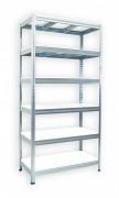 kovový regál Biedrax 35 x 75 x 180 cm - 6 polic x 275 kg, pozinkovaný, bílé police lamino