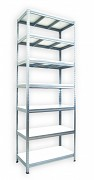 kovový regál Biedrax 45 x 90 x 210 cm - 7 polic x 275 kg, pozinkovaný, bílé police lamino