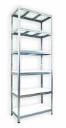 kovový regál Biedrax 35 x 75 x 240 cm - 6 polic x 275 kg, pozinkovaný, bílé police lamino