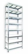 kovový regál Biedrax 45 x 90 x 270 cm - 8 polic x 275 kg, pozinkovaný, bílé police lamino