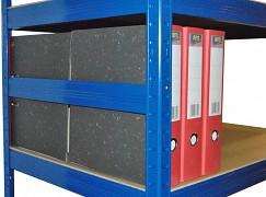 boční zábrana 60 cm modrá, pro kovový regál proti vypadnutí
