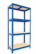 kovový regál Biedrax 60 x 75 x 180 cm - 4 police x 175kg, modrý