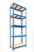 kovový regál Biedrax 35 x 120 x 210 cm - 5 polic x 175kg, modrý
