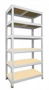 kovový regál Biedrax 35 x 60 x 180 cm - 6 polic x 175kg, bílý