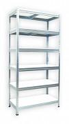 kovový regál Biedrax 50 x 60 x 180 cm - 6 polic x 175 kg, pozinkovaný, bílé police lamino