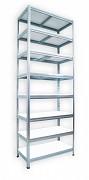 kovový regál Biedrax 45 x 75 x 240 cm - 8 polic x 175 kg, pozinkovaný, bílé police lamino