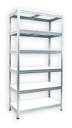 kovový regál Biedrax 45 x 75 x 180 cm - 6 polic x 175 kg, pozinkovaný, bílé police lamino
