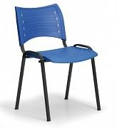 Konferenční plastová židle, modrá Biedrax Z9118M, podnož černá