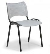 Konferenční plastová židle, šedá Biedrax Z9118S, podnož černá