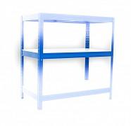 police 35 x 60 cm bílé lamino - regál kovový modrý, 175 kg na polici
