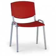 Konferenční plastová židle, červená Biedrax Z8988CV, podnož šedá