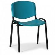 Konferenční plastová židle ISO, zelená Biedrax Z9517Z, podnož černá