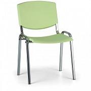 Konferenční plastová židle, zelená Biedrax Z8994Z, podnož chromovaná
