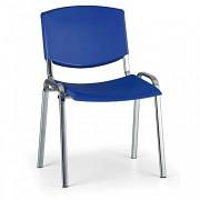 Konferenční plastová židle, modrá Biedrax Z8994M, podnož chromovaná