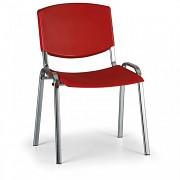 Konferenční plastová židle, červená Biedrax Z8994CV, podnož chromovaná
