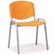 Konferenční plastová židle, oranžová Biedrax Z9522O, podnož šedá