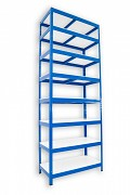 kovový regál Biedrax 45 x 75 x 210 cm - 8 polic lamino x 175 kg, modrý