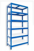 kovový regál Biedrax 45 x 75 x 180 cm - 6 polic lamino x 175 kg, modrý