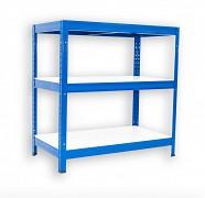 kovový regál Biedrax 45 x 75 x 120 cm - 3 police lamino x 175 kg, modrý