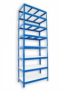 kovový regál Biedrax 35 x 120 x 270 cm - 8 polic lamino x 175 kg, modrý
