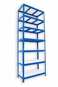 kovový regál Biedrax 35 x 120 x 240 cm - 7 polic lamino x 175 kg, modrý
