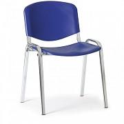 Konferenční plastová židle ISO, modrá Biedrax Z9527M, podnož chromovaná