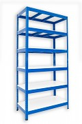 kovový regál Biedrax 35 x 120 x 180 cm - 6 polic lamino x 175 kg, modrý