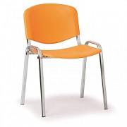 Konferenční plastová židle ISO, oranžová Biedrax Z9527O, podnož chromovaná