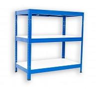 kovový regál Biedrax 35 x 120 x 90 cm - 3 police lamino x 175 kg, modrý
