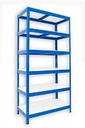 kovový regál Biedrax 60 x 60 x 180 cm - 6 polic lamino x 175 kg, modrý