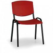 Konferenční plastová židle, červená Biedrax Z8982CV, podnož černá